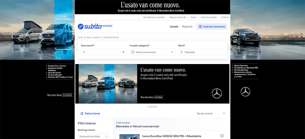 Suriglia Studio - Mercedes-Benz Vans Certified skin Subito.it
